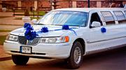 Gražūs mėlyni limuzino papuošimai