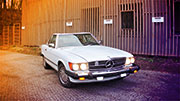 Nuomojamas baltas kabrioletas Mercedes Benz