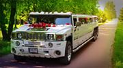 Baltas Hummer limuzinas Super