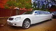 Balto limuzino Mercedes Benz nuoma